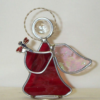 Dragonfly Nature Beauty Red  Leaded Genuine Stained Glass Angel New Handmade USA