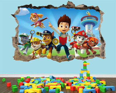 Paw Patrol Wall Stickers 3D Bedroom Boys Decal Art Girls Vinyl Smashed Poster