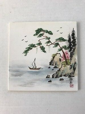 Vintage Serene Asian Scene with Sailboat Wall Tile Ceramic Hand Painted