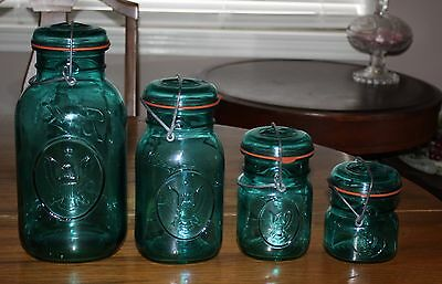 Set Of 4 Ball Ideal Eagle Blue Jar w/Ball Glass Lid & Wire Bail