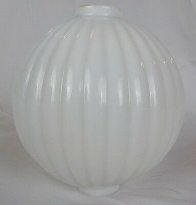 """Antique Pleated White Milk Glass 4 1/2"""" Lightning Rod Ball for Weathervanes"""
