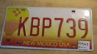 2009 New Mexico Hot Air Balloon License Plate Expired Kbp 739