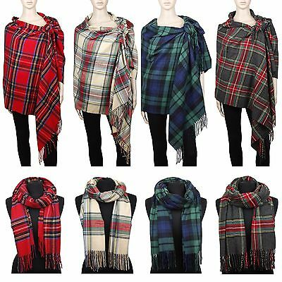 Cashmere Feel Blanket Scarf Large Scottish Tartan Plaid Shawl Wrap Winter Warm