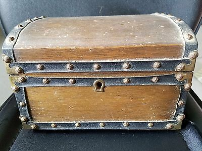 "Antique Vintage Japanes Hand Tooled Rivet Brass Jewerly Box Case 7.5""×6.5""×5"""
