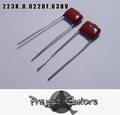 Pack of 2 Red 223K,0.022UF,630V Guitar/Bass capacitors Good Quality
