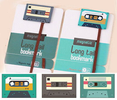 Retro Cassette Tape Long Tail Ribbon Magnetic Bookmarks Set of 3 Designs Xmas