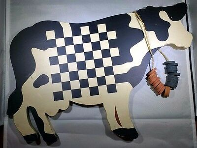 Vintage Wood Cow Wall Hanging Black & White w/ Checkerboard Center Wang Int'l