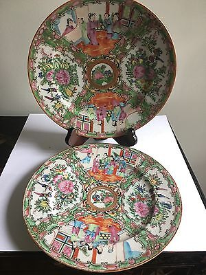 Chinese Export Hand Painted  Famille Rose Plate Set of 2