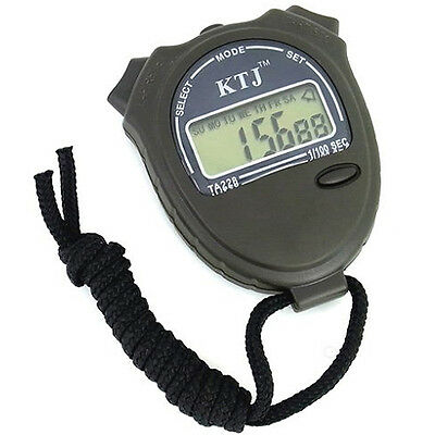 Digital Stopwatch Timer Sports Chronograph Chime LCD Running Racing 12/24 hr