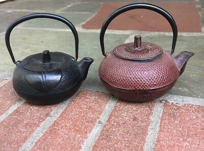 Lot of 2 Vintage Small  Cast Iron Tea Pots Kettles Signed Asian