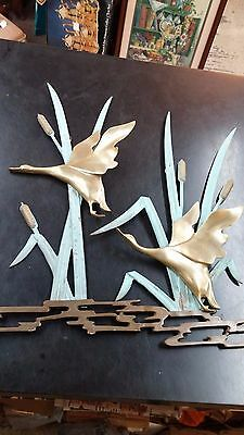 Vintage Gatco Solid Brass Flying Ducks Wall Hanging