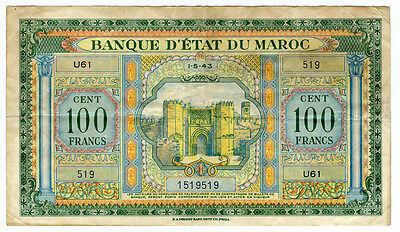 Morocco 1943 Issue 100 Francs Scarce Note Crisp Vf. Pick#20.