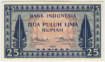 INDONESIA 1952 ISSUE 25 RUPIAH SCARCE BANKNOTE NICE CRISP XF-AU.PICK#44a.