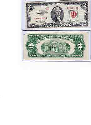 1953 or 1963 $2 Dollar Red Seal Note Lot of 1 in new holder u get 1 of low grade