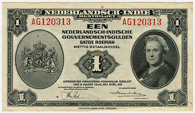 Netherlands Indies 1943 Issue 1 Gulden Superb Crisp Au.
