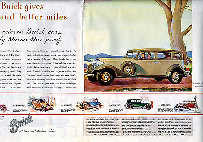 1933 Buick Car Ad --Centerfold,  2 Page Ad,  21 x 13 3/4 --Straight Eight -z1030