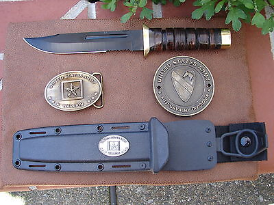 "U.S. ARMY 1st Cavalry Division ""First Team""  Knife-Grill Medallion-Belt Buckle"