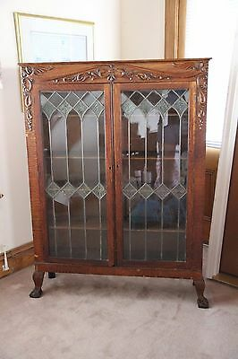 Antique Oak Curio Cabinet Bookshelf Glass Doors LOCAL PICKUP BELMAR, NJ