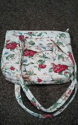 Longaberger Fabric Handbag White Floral Quilted