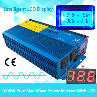 Pure Sine Wave Power Inverter 1000W(2000W Max) DC 12 V TO AC 240V D LCD Display