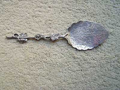 Vintage Dutch ZILPLA 90 Silver Plate Spoon Leaf/Flower/Insect Design