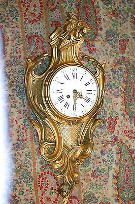 Antique Large French Gilded Bronze Cartel Clock, C.1880 Signed H&f Porc. Dial