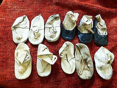 Antique Victorian Baby Shoes Boots Infant Doll Child soft leather with Buttons