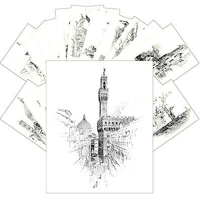 Postcards Pack [24 cards] Vintage Engravings of Florence by H. Railton CC1055