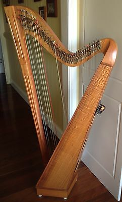 Tim Guster 34 String Lever Harp, Dust cover, Spare Strings