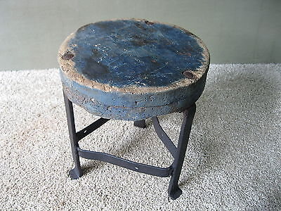 Antique Stool Milking Primitive Wood, Wrought Iron 3 Leg Stand, Orig Blue Paint