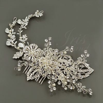 Bridal Hair Clip Pin Pearl Crystal Headpiece Headband Wedding Accessory 00655 S