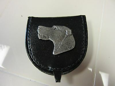 Handsome Black Leather Change Holder/ Purse With Pewter Irsih Wolfhound-One Of A
