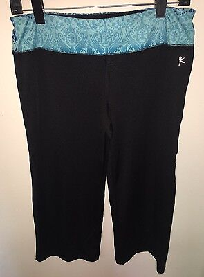 Women's DANSKIN NOW Size M Black Blue Dri More Tech Leggings Yoga Capri Pants