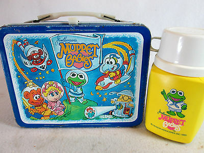 Vintage 1985 Jim Henson's Muppet Babies metal lunch box & Thermos set