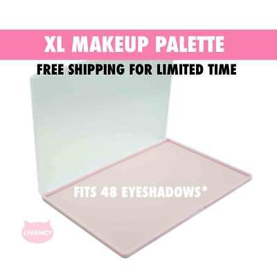 DIY Empty Magnetic Makeup Palette Pink XL Strong Plastic Fits 48 Eyeshadows*