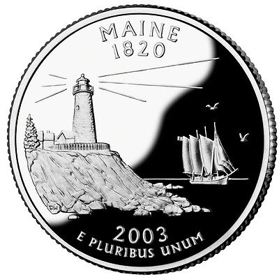 2003 S Silver Gem Proof Maine State Quarter 90% Silver