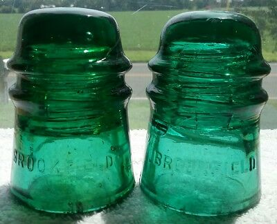 2 Nice Green and Yellow Green Cd 121 Brookfield Insulators One with Blott Outs