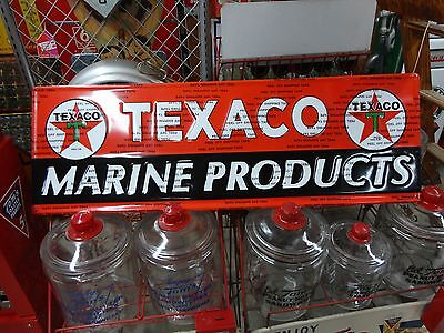 Texaco Marine Products Gas Oil Embossed Sign Made In Usa Licensed 14X42