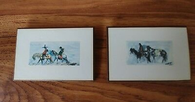 Degrazia 2 small wall hanging plaques. Navajo Family and Lone