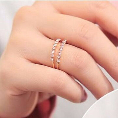 NEW Silver Gold Crystal Ring Double Band Wrap Rings Jewelry Vintage Fashion Gift