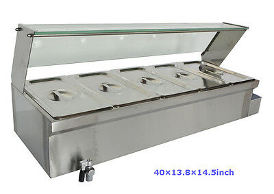 40Inch 5-Pot Bain-Marie Food Warmer(110V,1500W,5*1/3Pans) 6Inch Deep Pan