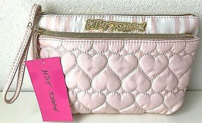 Betsey Johnson Cosmetic Bag Wristlet Make up Case Trapezoid Quilted Hearts Pink