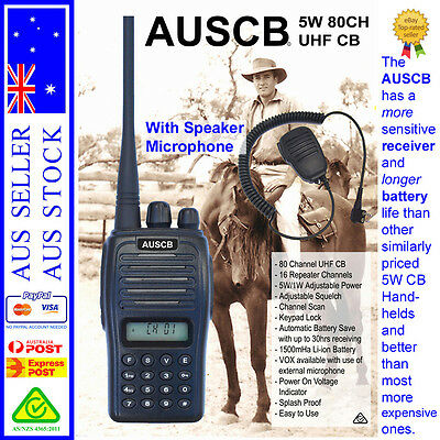 AUSCB 5W 80CH UHF CB Handheld + Speaker Microphone   AS/NZS Standards Approved