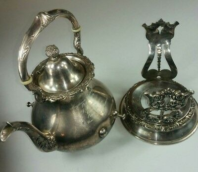 Antique Wilcox Silverplate Co. Teapot On Stand Quadruple Silver Plate 1905
