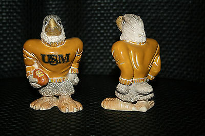 Southern Mississippi (2) Vintage  Mascot Hand Made & Painted Ceramic (1984)