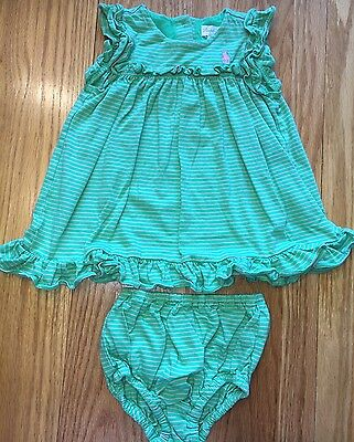 Baby Girl Ralph Lauren Polo Green & Pink Striped Dress & Bloomers Size 6 Months