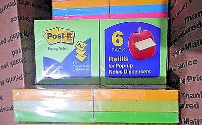 Lot of 7 12-Pack POST-IT Notes 3x3 For Pop-Up Note Dispensers -Neon Colors   #AF