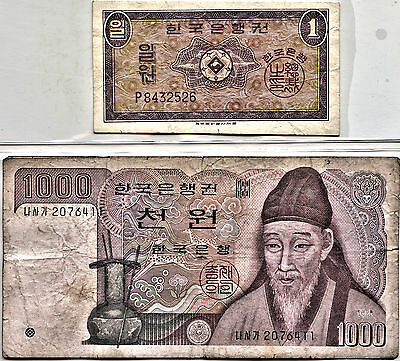 South Korea 2 Banknotes - 1 Won 1962 crisp Unc & 1000 Won 1975 Circ - see pics