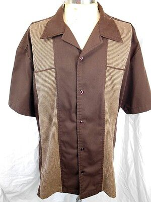 Steady Classics USA Made Brown Rockabilly Hot Rod Short Sleeve Bowling Shirt XXL