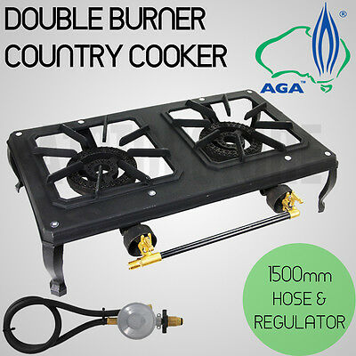Double Burner Country Cooker Cast Iron LPG Camping Gas Stove 1.5m Hose Regulator